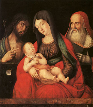 Madonna and Child with Saint John the Baptist and a male Saint,<br>Alvise Vivarini