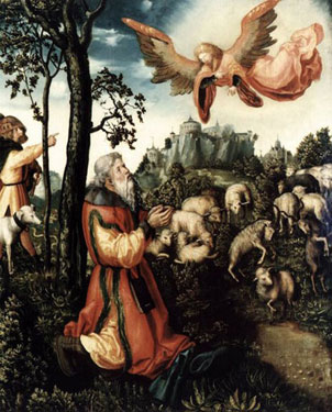 The Annunciation to Saint Joachim,<br> Lucas Cranach the Elder.