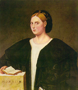 Portrait of a Lady, half-length, in a Black Robe, Holding a Book,<br> Bernardino Licinio Da Pordenone