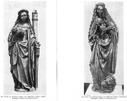 Figures of Saint Barbara and<br>Saint Catherine of Alexandria