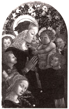 Madonna and Child, with the Infant Saint John, Saint Catherine and Angels,<br>Pseudo Pier Francesco Fiorentino