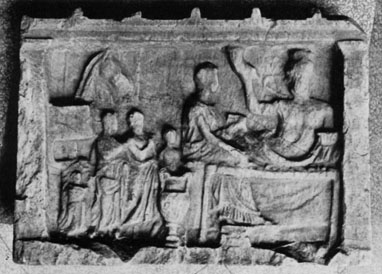 A Greek Marble Hero Relief,<br>showing the Deceased at a Funerary Banquet
