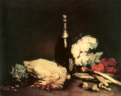 Still Life with a Chicken, a Bottle of Wine, Asparagus, Artichoke, Tomatoes<br> and other Vegetables, on a Table, Augustin Theodule Ribot